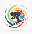 skier action graphic vector image vector image