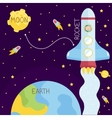 Space Flights Cartoon Style Concept vector image