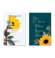 sunflower watercolor wedding card summer nature vector image vector image