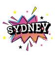 sydney australia comic text in pop art style vector image