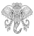 tangle african elephant coloring book page vector image