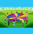 teacher student playing rainbow parachute vector image vector image