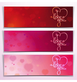 three i love you banners red pink