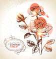 Vintage hand drawn floral background with rose