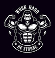 vintage of a gorilla bodybuilder with chain vector image vector image