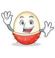 waving rambutan character cartoon style vector image vector image