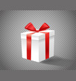 white gift box with red ribbon on transparent vector image vector image