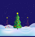 winter landscape xmas tree snow and snowdrifts vector image
