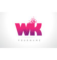 wk w k letter logo with pink purple color and vector image vector image