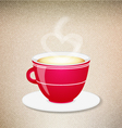 Red coffee cup on a jeans background vector image