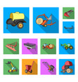 agricultural machinery flat icons in set vector image