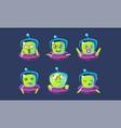 alien character in ufo set funny monster vector image