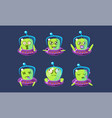 alien character in ufo set funny monster with vector image vector image