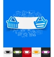 basket paper sticker with hand drawn elements vector image