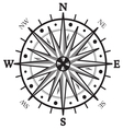 Black wind compass vector image vector image