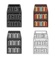 bookcase icon in cartoon style isolated on white vector image vector image