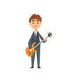 boy playing electric guitar talented young vector image vector image