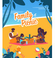 bright banner family picnic lettering cartoon vector image