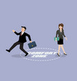 businessman and woman exit from comfort zone