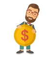 Businessman holding a big coin vector image vector image