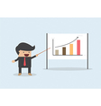 Businessman presenting and pointing the graph on b vector image vector image