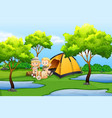children camping in nature vector image