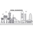 china guangzhou architecture line skyline vector image vector image