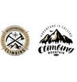 climbing mountaineering logo or label mountains vector image vector image