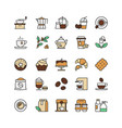 coffee and tea drinks linear icons set takeaway vector image vector image