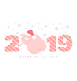creative postcard for new 2019 year with cute pig vector image vector image