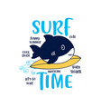 cute shark print design with slogan vector image vector image
