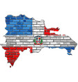 dominican republic map on a brick wall vector image vector image