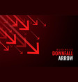 downfall red arrows business sale drops vector image