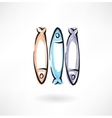 fish grunge icon vector image vector image
