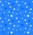 floral seamless pattern with white flowers on blue vector image vector image