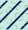 gold heart seamless pattern blue geometric vector image vector image