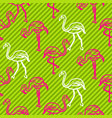 green and pink striped flamingo bird pattern vector image vector image