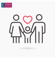 happy family line icon on white background vector image