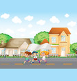 Kids outside the big houses with an empty banner vector image vector image
