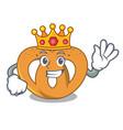 king pretzel mascot cartoon style vector image