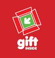 logo box for gifts on a red background vector image