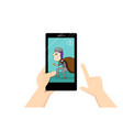 man look at smartphone that show thief in his home vector image vector image
