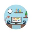 Modern office interior with designer desktop vector image vector image