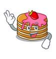 okay pancake with strawberry character cartoon vector image