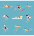 people relaxing in sea ocean or swimming pool vector image vector image