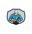 Plumber Superhero Monkey Wrench Crest Retro vector image vector image