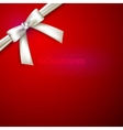 red background with white bow vector image vector image