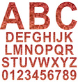 Red mosaic font set vector image vector image