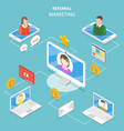 referral marketing flat isometric concept vector image