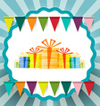 Retro Gift Boxes with Flags and Circle Label on vector image vector image